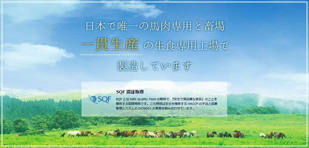 日本で唯一の馬肉専用と畜場一貫生産の生食専用工場で製造しています